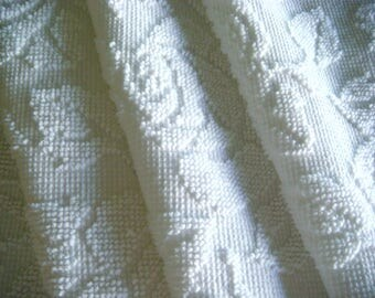 White Cabbage Rose Hobnail Vintage Cotton Chenille Bedspread Fabric 12 x 24 Inches