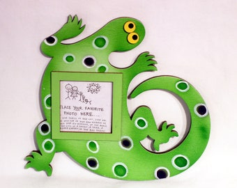 Lizard Picture Frame - Hand Painted Wooden Frame