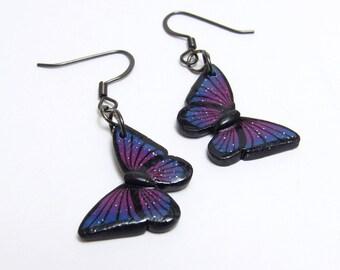 Galaxy Butterfly Dangle Earrings, Blue & Pink, Polymer Clay Cane, Whimsical Jewelry, Teenage Girl Gift, Space Jewelry, Glitter Earrings