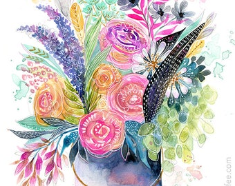 Tin Pail Bouquet - PRINT - floral watercolor, flower art, Feminine Art, Girls Art, Nature Art