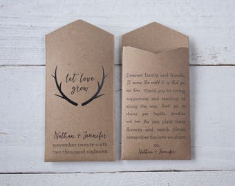 Antler Custom Seed Packet Wedding Favor – Rustic Flower Seed Favor – Let Love Grow – Seed Envelope Wedding Favors – Many Colors Available