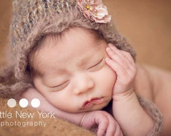 Hand Knit Photo Bonnet Photography Prop Newborn Girl Knitted Baby Shower Gift Pixie Going Home Cap Fine Mohair Boy Organic Hat Coming Outfit