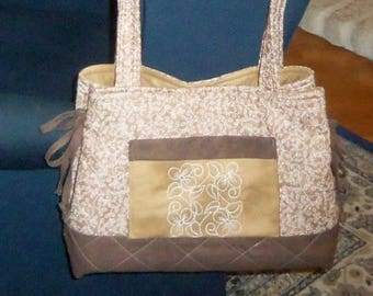 Quilted Tote Bag in Shades of Brown with Embroidered Pocket