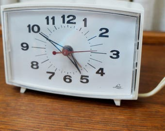 Vintage Alarm Clock Electric by Lux White Black Numbers