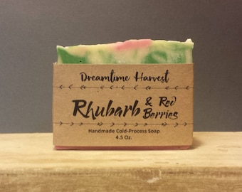 Rhubarb & Red Berries Handmade Soap - Organic Ingredients Soap - Olive Oil Soap - Homemade Soap - Pink Soap - Fruity Soap