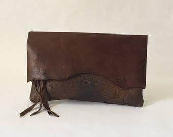 Raw Edge Clutch - Boho Clutch -  Boho Style - Raw Edge Bag - Brown Leather Clutch - One of a Kind