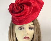Kate,  Parasisal  Hat Fascinator, Kentucky Derby, color red