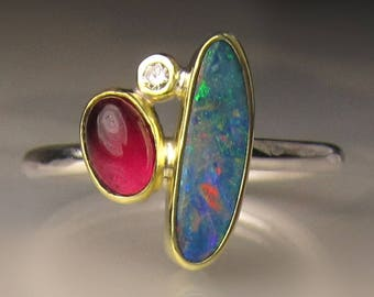 Opal Ring, Opal and Pink Tourmaline Ring, Boulder Opal Ring, 18k Gold and Sterling Silver Australian Opal Ring