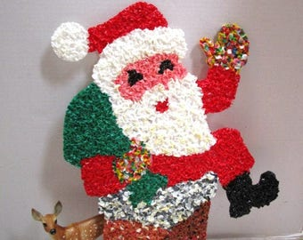Vintage Santa Claus, Christmas Melted Plastic Popcorn, Indoor / Outdoor Wall / Window Decor, Holiday Fun, Boomers, Chimney,