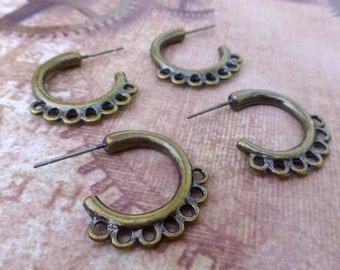 free shipping in UK - 10 pcs Antique Bronze Hoop, Multiloop Earrings Component