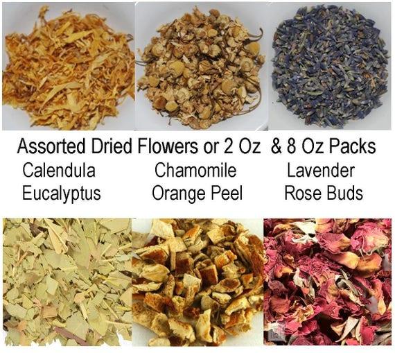 Dried Flowers, Dried Lavender - Calendula, Chamomile, Eucalyptus, Lavender, Rose Buds, Orange Peel, Empty Bath Tea Bags, Sachet Supplies
