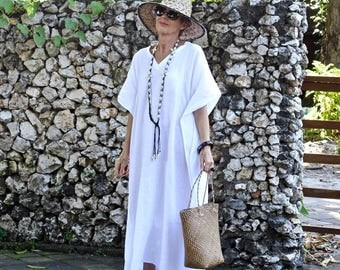 LINEN, Caftan, Kaftan, Maxi, Resort Wear, Bohemian, Tropical Clothing, Beach Dress, Coverup, Black, White, Natural, Gray - 4 Sizes
