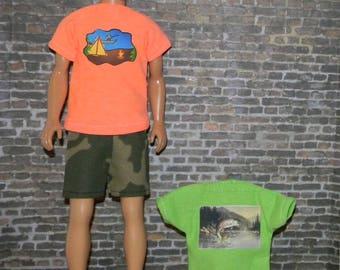 K3PC-30) Ken doll clothes, 2 printed T-Shirts and 1 shorts