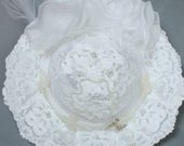 Vintage Bridal Hat Large White Lace Two Tier Veil Wrist Length Pearl Beaded Free US Shipping
