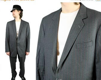 ON SALE Vintage Wool Suit 46L 39x33 Blazer Pants 2 Piece Charcoal Gray Red Pinstripe Free Us Shipping