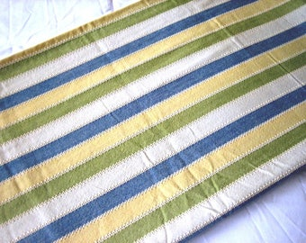 Shower Curtain Standard Size 100% Cotton Awning Stripe Blue Ivory Yellow Olive