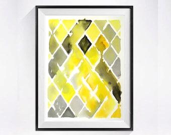 Abstract Watercolor Art Print Mid century modern Geometric diamond artwork Yellow color field poster zig zag wall decor
