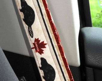 Padded Seat Belt Covers, Pair, Reversible, Red Maple Leaf, Beaver, Canadian