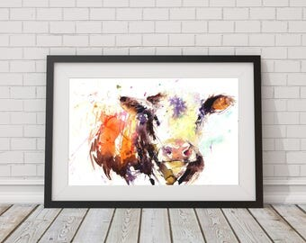 Cow art, LIMITED edition print of my Hereford COW  wall art, home decor, nursery art, wildlife .  hand signed, illustration,  animal art