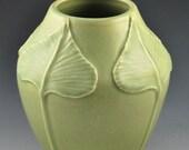 Arts & Crafts Style Leaf Vase (Pale Green)