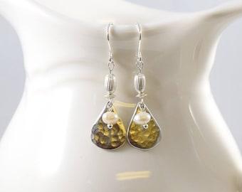 Sterling Silver Teardrop Earrings, White Freshwater Pearl Earrings, Pearl Earrings, Small Earrings, Silver Earrings, Sterling Silver - E041