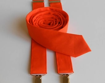 Orange Necktie and Suspenders - Men, Teen, Youth             2 weeks before shipping