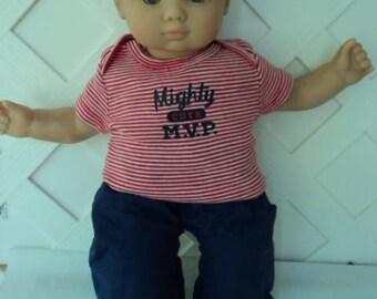 Bitty Baby Boy 2 pc. cute M,V.P.  pants set, doll clothes