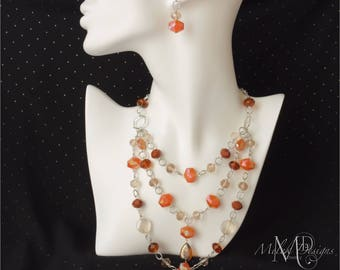 Caramel Faceted Glass Multi Strand Silver Plated Chain Necklace Earrings Set