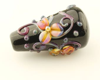 Black Lampwork Glass Bead, Focal, Iridescent Pink, Purple, Blue, Orange
