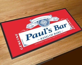 Personalised Red beer label bar sign runner pubs clubs & cocktail bars **ANY NAME**