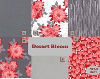 3 Piece Custom Bumperless Crib Bedding Blanket Sheet Crib Skirt Desert Bloom Riley Blake