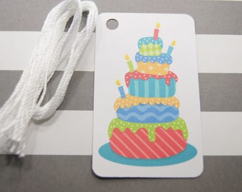 Birthday Cake Tags, Thank You Tags, Party Favor Tags, Gift Tags, Set of 8, (T13)