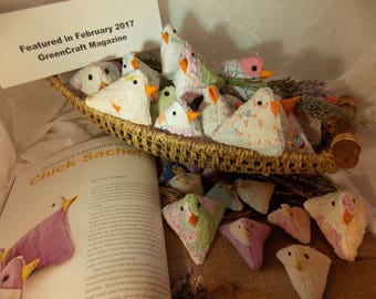 Lavender Chicks~Mama and Baby Chicks~Upcycled Old Quilt Chick Pincushion or Basket Filler~Reuse, Repurposed Old Quilt~GreenCraft Featured