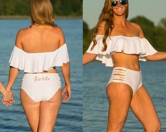 White flounce BRIDE BIKINI, ladies swimwear  Honeymoon/wedding lingerie,wifey, bridal shower, bride. Swimsuit, bathing suit, just married,