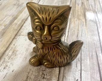 Vintage Brass Kitten