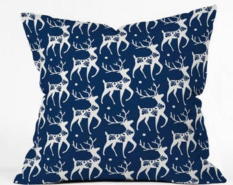 Christmas Throw Pillow // Navy Blue // Christmas Decor // Reindeer // Dashing Through The Snow Deer Design // Holiday Decorating // Cushion