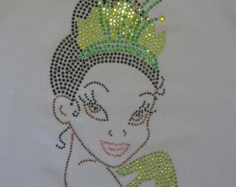 SALE 9 inch TIANA  iron on rhinestone transfer for Disney Princess & the Frog costume t-shirt WHOLESALE available