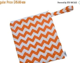 On Sale Chevron - Orange - 10x10 Sweet Bobbins Wet Bag - SEAM SEALED - Snap Strap
