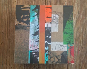 6x6 one-of-a-kind collage made from hand made papers on wooden panel