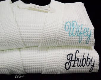 Wifey Hubby Personalized Robes, Couples Robes, Monogram Wedding Robes, Cotton Anniversary Gift, Wifey Hubby Bathrobes, 1901 Set of 2 Robes