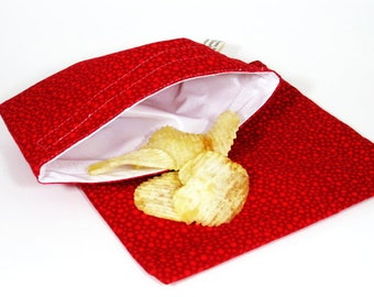 Red Tonal Dots Sandwich and Snack Bag Set, Reusable