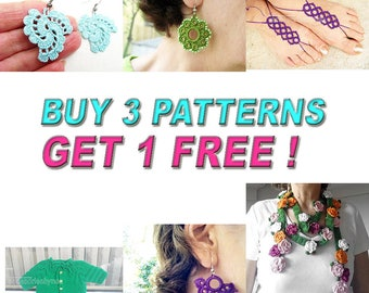 Buy 3  Patterns, Get 1 More Free Pattern, Crochet Patterns, Crocheted Earrings,  Crochet  Jewelry, Crochet Wrap Scarf, Knit baby Cardigan