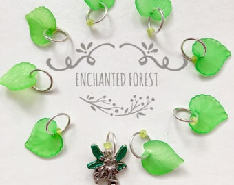 Knitting Stitch Markers,leaves - ENCHANTED FOREST