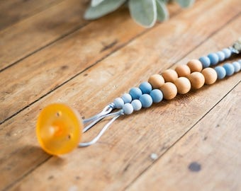 Pacifier Clips - Powder Blue & Wood - Fall Winter Collection