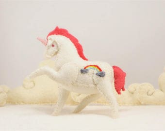 Miniature Stuffed Rainbow Unicorn - White Rainbow - Tiny embroidered Felt Stuffed Animal