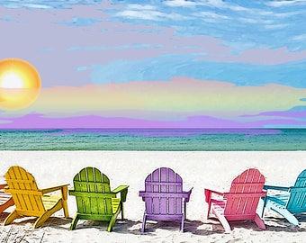 Beach Chairs Digital Art 0n 24x36 Stretched canvas