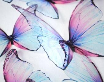 Blue rainbow butterflies - 3D acetate butterfly - ombre blue butterfly - 3D Blue butterfly - wall art butterfly - blue butterfly wall decor