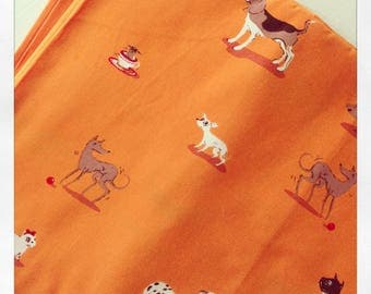 Heather Ross Dogs on Orange Lightning Bugs & Other Mysteries Fat Quarter