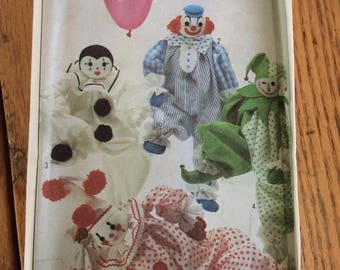 Simplicity 8379, Vintage Uncut Craft Sewing Pattern, 20 in High Clowns, Transfers Included, 1987