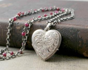 July Birthstone Locket, Silver Heart Locket Necklace, Sterling Silver Locket, Photo Locket, Silver Layer Necklace, Push Present, Ruby Locket